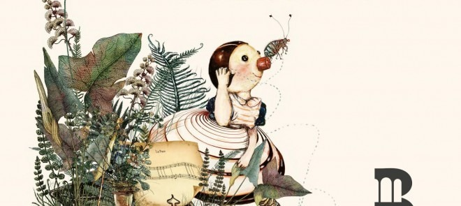 """albo illustrato """"Un pianoforte, un cane, una pulce e una bambina"""""""
